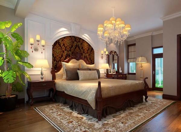 床头背景墙的石膏板配合壁造型,是简单的卧室变得充实起来
