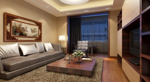 客厅简约大方,吊顶采用方形吊顶,增加了客厅的层次感。