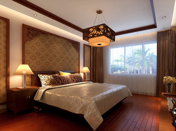 木质地板、木质家具、顶面简洁的吊顶结合实木线,卧室整体空间通过温和木质的装饰打造一个温馨的睡眠空间。
