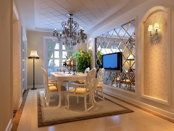 餐厅 有漂亮镜面装饰的餐厅 餐厅背景墙和整个空间结合,是整个房间最有特色的地方。浅黄色的壁纸再配以高贵典雅的水晶吊灯,将整个房间的贵族气质显现得淋漓尽至。