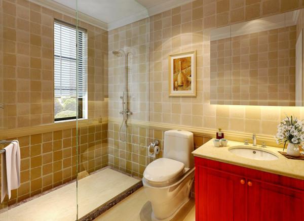 设计理念:方格的墙面砖使得卫生间别有一番特色,所有的木质家具都以红棕色为主色调,增加了真个空间的装饰性。亮点:方格墙面砖,功能用具的统一排列,色彩和谐美观。