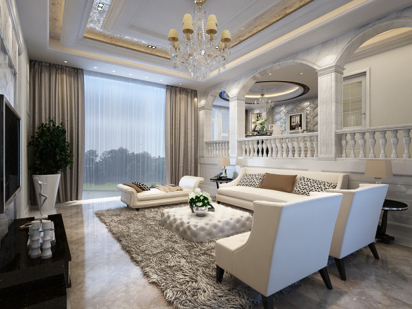 本设计将现代元素与欧式古典元素相结合,用石材天然的纹理和自然的色彩来修饰人工的痕迹,使客厅和餐厅的那种奢华、档次和品位毫无保留地流淌。