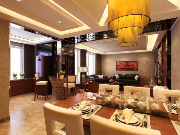 远见新中式装修设计案例,餐厅装修设计效果图展示