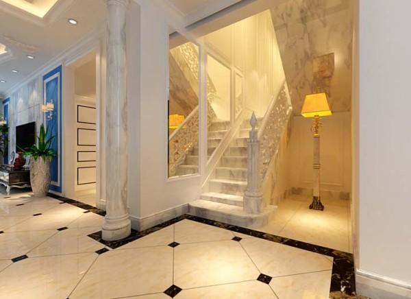 楼梯风格的设计,以白色为主精雕细琢,镶花刻金、简化了线条都给人一丝不苟的印象。楼梯侧面镜面的使用让整个楼梯间空间倍增,同时楼梯间的采光问题也得以解决