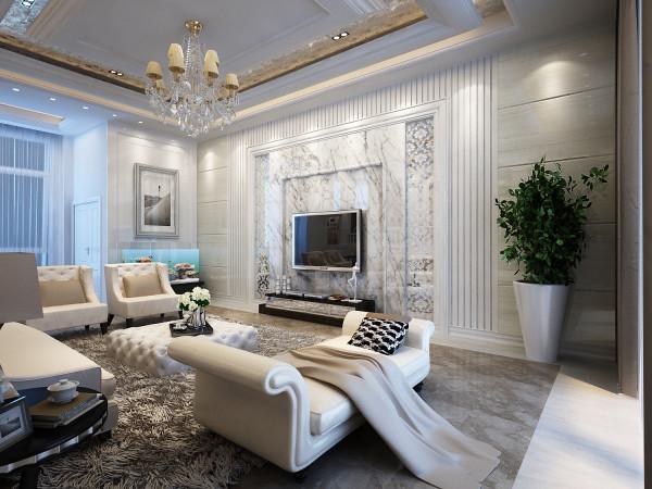 电视背景墙,力争在追求古典的风格上多体现一点现代明亮的感觉,所以在设计的时候,大胆的运用了干挂石材作为装饰的主角,使原本比较开敞的空间更大气奢华;