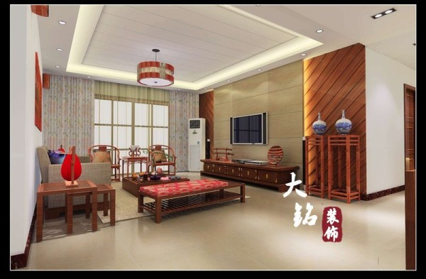 本案设计为现代中式风格,以东方传统文化内涵为设计元素,去掉繁复细节,以现代简约的造型艺术诠释东方神韵。