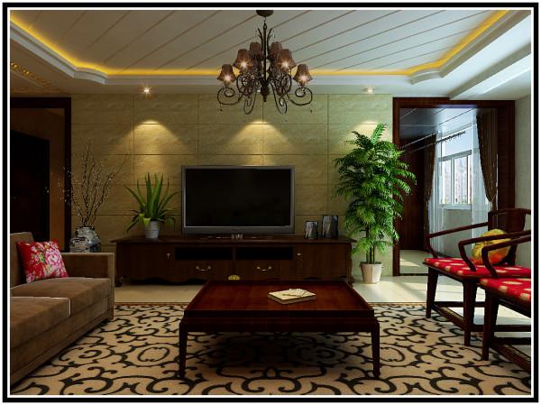 远见中式装修设计案例客厅电视墙效果图展示