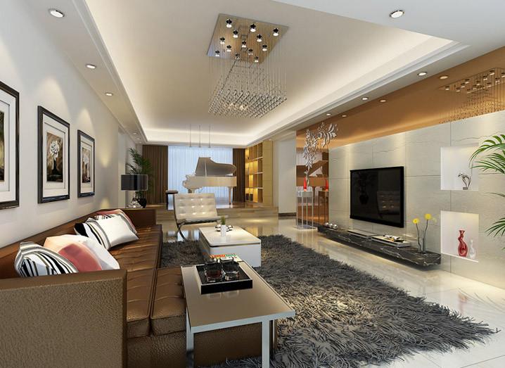 设计理念:简约的直线天花造型,l型的电视背景墙简单大气,中部外凸造型图片