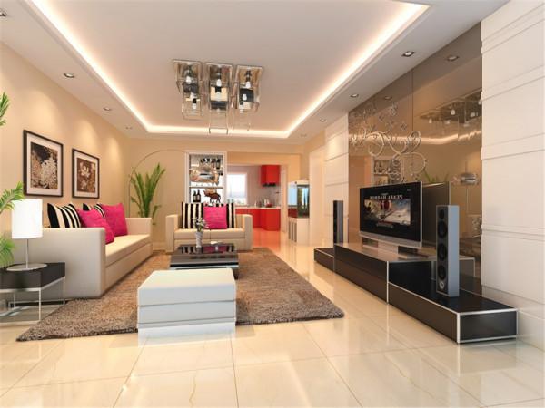 本案的设计风格为现代经典风格。在整体结构上设计师非常注重开放与半开放的结合,起居室的清玻树枝隔墙及客厅背景墙的艺术玻璃把空间变得豁然开朗