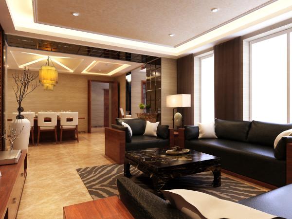 远见新中式装修设计案例客厅沙发效果图展示