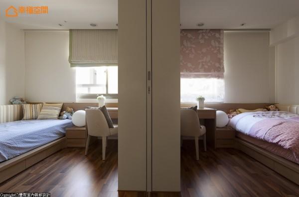 设计师黄翊峰藉由活动拉门区隔,配置出两间大小公平且几近一模一样的小孩房,开启时廊道宽敞也是小朋友最佳玩耍的区块。