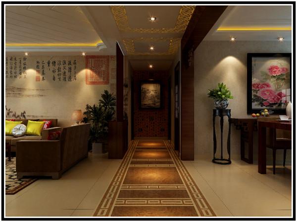 远见中式装修设计案例过厅效果图展示