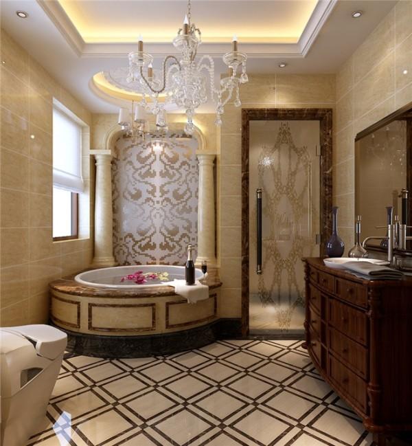 上山间别墅装修设计案例 欧式新古典风格卫生间装修设计效果图展示