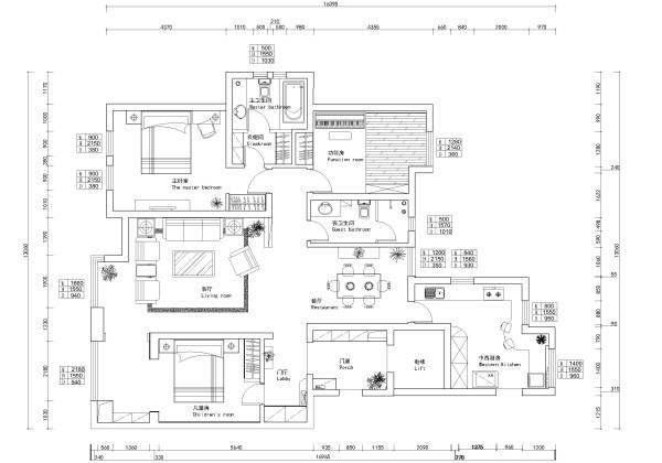 远见中式装修设计案例平面布局规划