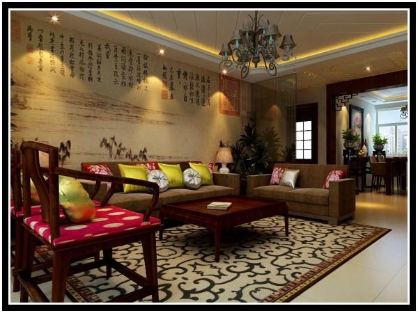 远见中式装修设计案例客厅沙发墙效果图展示