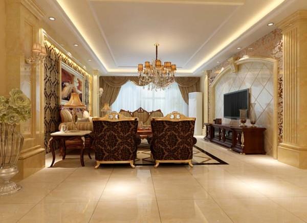 正厅大量运用石材的搭配,电视背景墙和沙发背景墙的呼应。吊顶采用直线灯带与石膏花线表现出了简洁明了的风格。地面用拼花和波打线明确的划分了客厅的区域,简单明了