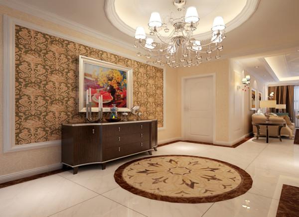 门厅采用简约的线条代替复杂的花纹,采用更为明快清新的颜色,既保留了古典欧式的典雅与豪华,又更适应现代生活的休闲与舒适。其设计哲学就是追求深沉里显露尊贵、典雅中浸透豪华的设计表现