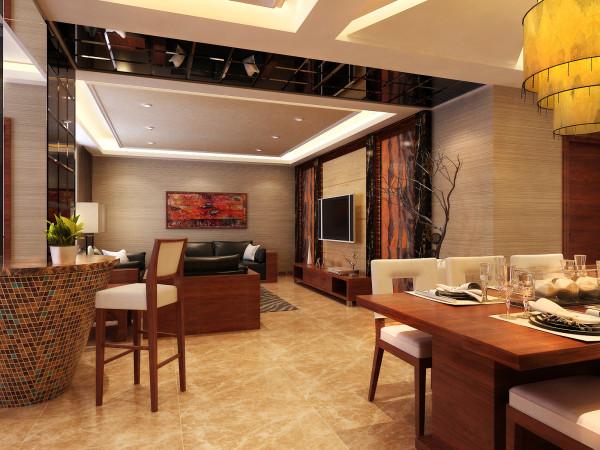 远见新中式装修设计案例客厅餐厅效果图展示