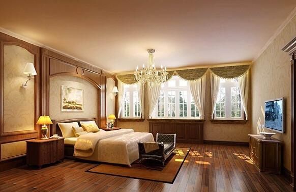 卧室地面铺贴实木地板,走在上面感觉松软舒适,让忙碌一天的人们步入顿感卸掉所有疲惫的轻松!墙面造型简单,大面积的欧式暖色墙纸、搭配上华丽的水晶吊灯让卧室更加温馨融洽!