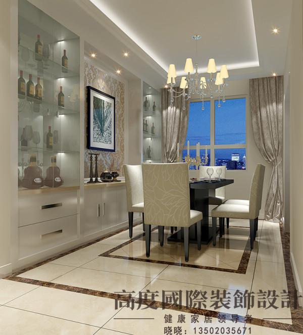 餐厅造型简洁、大气,吊顶和地面拼花都选用方形的,做上下呼应,酒柜的打制增加了情调。