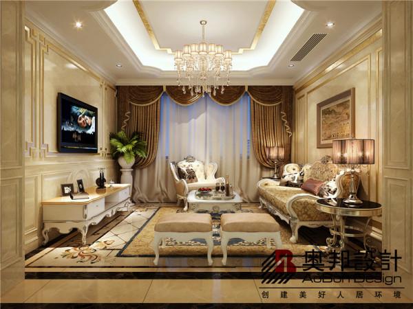 这是休闲区兼具洽谈间的功能,欧式吊顶搭配舒适的欧式家具在暖黄色地砖拼花的陪衬下显得格外舒适协调