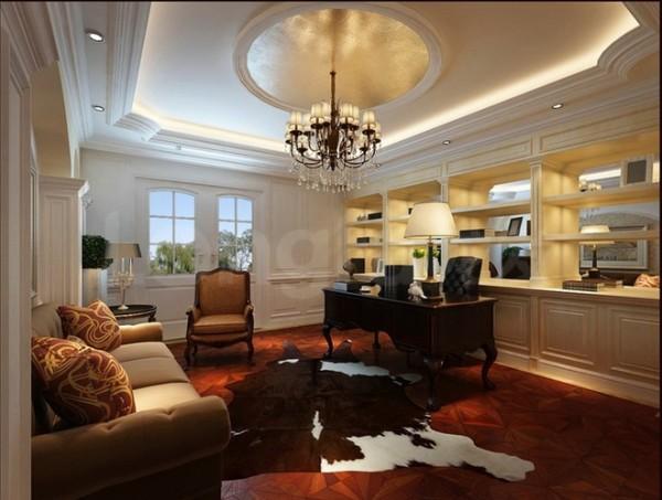 原河名墅欧式古典装修设计案例,书房装修设计效果图展示