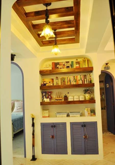 蔚蓝地中海装修完美呈现——书架