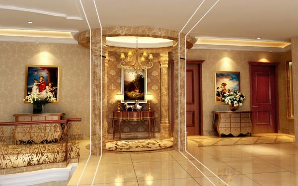 墙面大面积采用米黄色墙纸点缀,加以实木家具与天然石材衬托,使整个空间稳重明快。