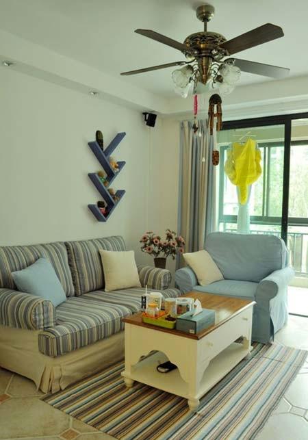 蔚蓝地中海装修完美呈现——客厅