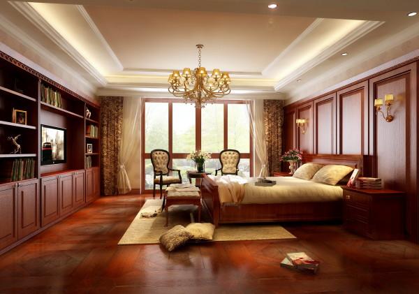 墙面使用了大面积的木饰墙板凹凸造型,地面铺设拼花地板,使得整个卧室的氛围让人感觉庄重恬静。