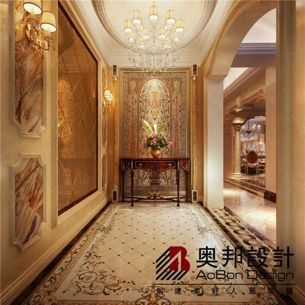 入户玄关走廊的空间设计尽头小案几上的精美饰品都为现代的欧式添加了一份温馨舒适的感觉