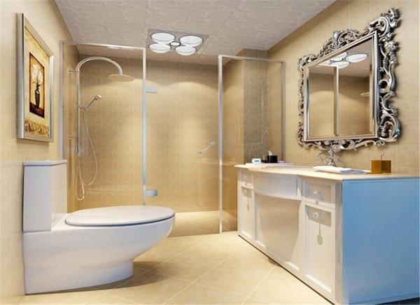 欧式风格总是给人以富丽堂皇、雍容华贵的感觉,卫生间也不例外。虽然这个卫生间本身并不大,但是镜子、小饰品、再加上欧式的壁画,整个卫生间自然而然就流露出一种西洋的调子。