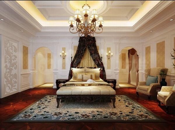 原河名墅欧式古典装修设计案例,主卧室装修设计效果图展示