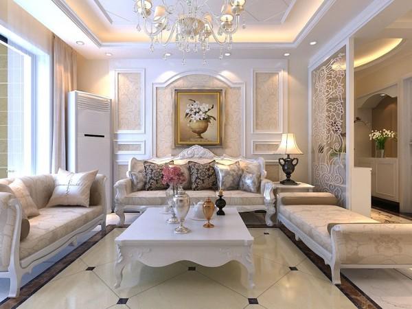 沙发背景墙用石膏线简单的拼接做出凹凸效果,既省钱又出效果,再贴上壁纸使整面墙生动了许多。