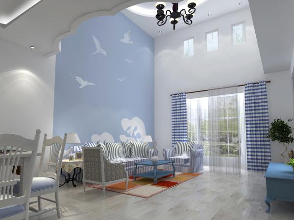 客厅 清新脱俗的海洋风情 设计理念:海沙般细腻的鹅黄色、海水般浓郁的湛蓝、云朵般纯粹的洁白、巧妙撞色,让灵动的自然气息呼之欲出。