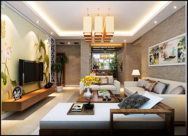 整体的一个客厅效果,使电视背景墙与沙发背景融合一体,使整体的风格统一、浑然一体。