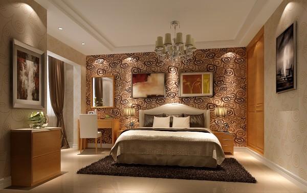 主卧背景墙充满青春气息,活力洋溢着整个房间,温馨而幸福。