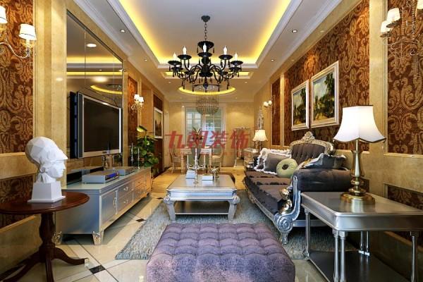 进入大厅,整个客餐厅一体,在墙面采用欧式风格中不可或缺的大马士革壁纸,加以简单的护墙板造型,使整个空间时尚,浪漫且温馨。功能分区明确,既满足主人的生活需求,又不失简单大方。