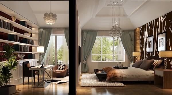 卧室和书房,融为一体却又相互独立