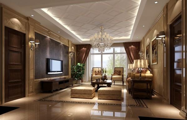 整体风格以美式风格为主,整体色调以米色为主,客厅的地面与顶面相呼应,地面使用大理石的材质,周圈使用压边线处理,使地面的层次感更强。顶面选用石膏板作出菱形线条的设计,使客厅的顶面更加灵活。