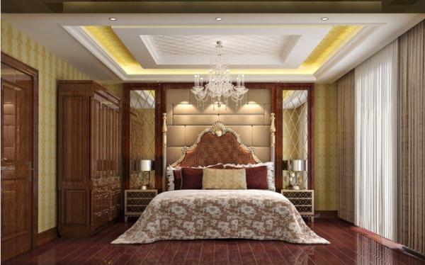 主卧背景墙采用软包的形式,这样显得有档次而且后期打理比较方便。