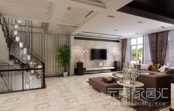 线条明显略带简欧风格,吊顶的造型比较复杂,电视墙的软包,是客厅里面图片