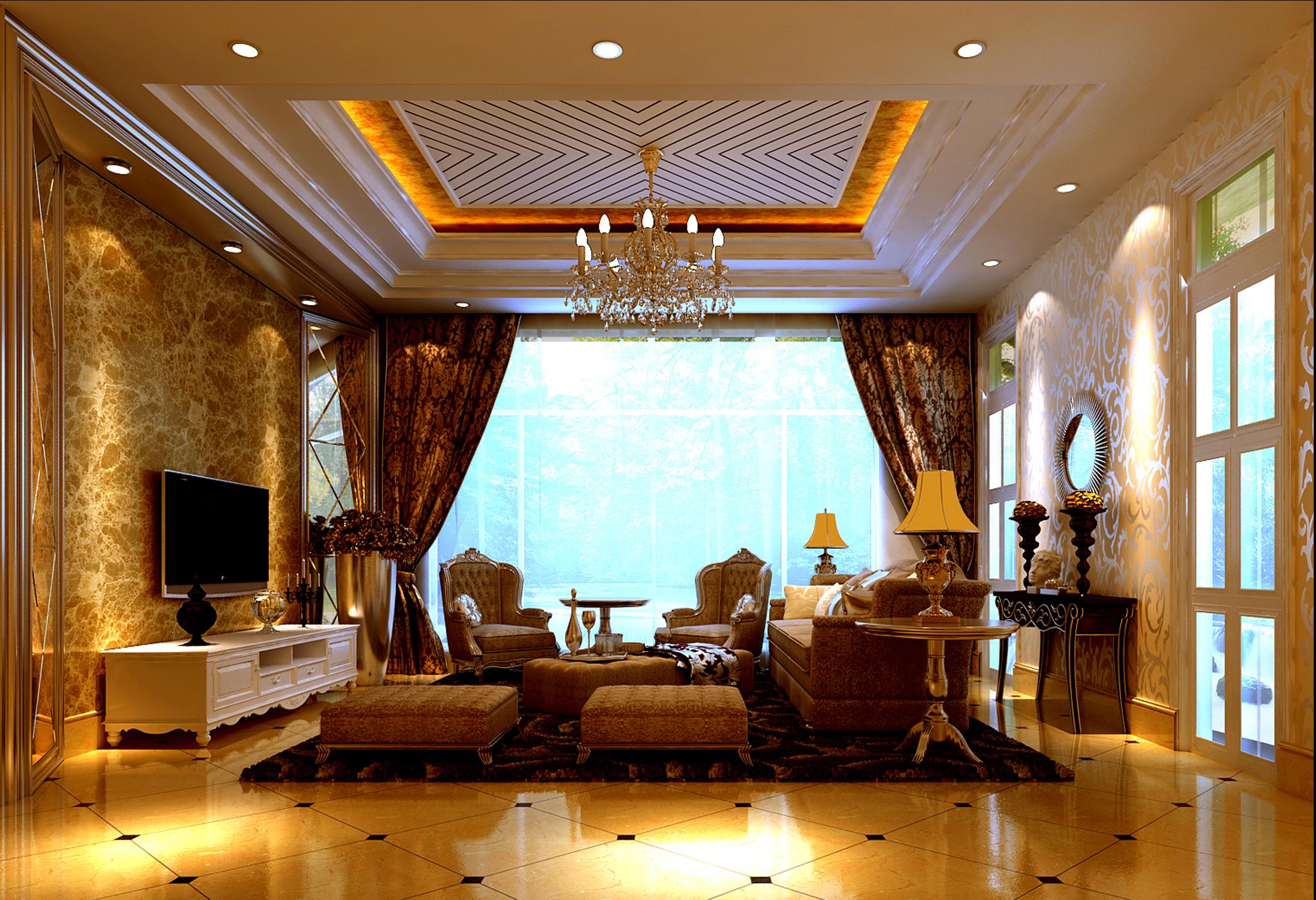 欧式龙湾别墅高度国际客厅装修效果图片_装修美图图片