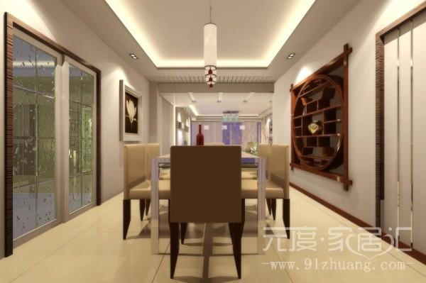 餐厅的餐桌和椅子都是那种米黄色的,特别是椅子皮质的色调和墙壁形成呼应。吊顶的灯具更是别具一格。