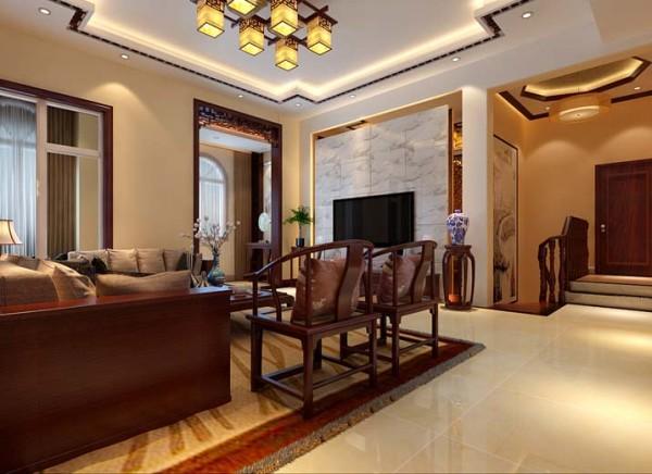 客厅往往是最显示一个人的个性和品位。在一个家庭中,客厅是连接内外和沟通客主情感的主要场所。设计时造型较多,围绕着中式古朴,以深色和淡黄色为主调。整个风格古朴
