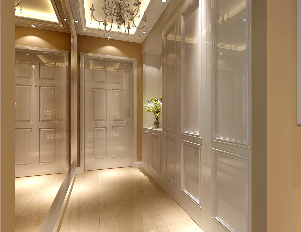 门厅 以暖色为主基调的空间,添加亮色体现出层次的立体感,适当的添加绿色植物,调和一下大量暖色带来的单调和刺眼的感觉,紫色作为点缀增加浪漫与神秘的气息