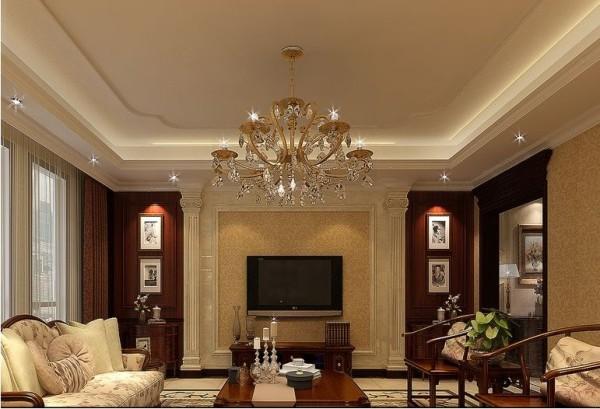 客厅:背景墙上的装饰线源自海棠花艺术造型,营造温和、美丽、快乐的气氛。背景墙上的壁龛是实用的储藏空间,整合空间,使用方便,是设计师灵活利用空间的体现