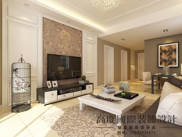 客厅造型不是很复杂,电视背景墙采用护墙板与花式壁纸结合,给人一种时尚、奢华的感觉。