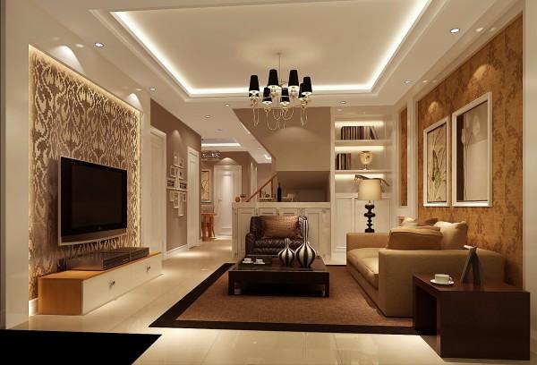 客厅有种书香之气却不失时尚,黑色线条的加入让整个空间更为生动,宽敞典雅的客厅,墙面的设计使客厅有着一种独具一格的特点,在射灯的辅助下更为舒适。鹅暖黄与金暖黄相结合,大气不失温馨。