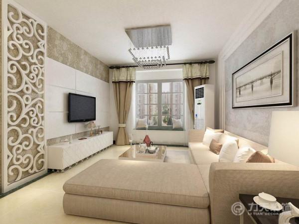 电视背景墙,采用混油镂空雕花和壁纸的形式,给人温馨,时尚,大气的感觉。
